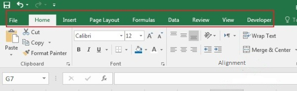 TAB on the Excel Ribbon