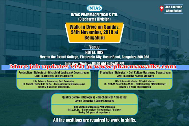Intas Pharmaceuticals walk-in interview for multiple positions on 24th Nov' 2019 @ Panchkula, Bangalore, Ahmedabad