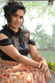 Actress Chetana Uttej Stills in Floral Long Skirt at Pichiga Nachav Movie Press Meet  0053.JPG