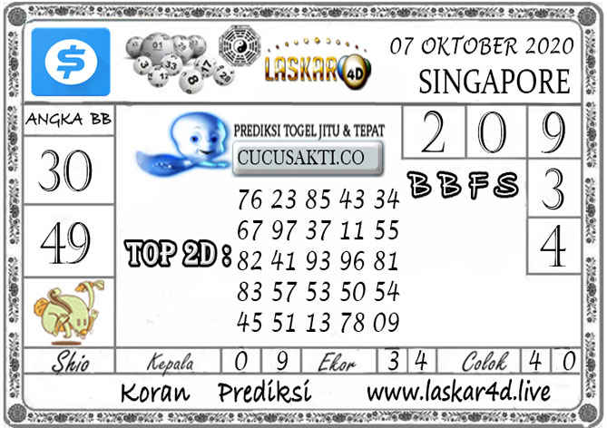 Prediksi Togel SINGAPORE LASKAR4D 07 OKTOBER 2020