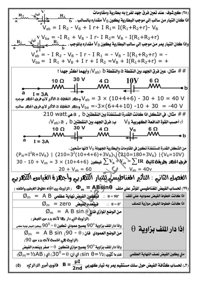 مراجعة فيزياء ثالثة ثانوي. كل القوانين بطريقة منظمة جداً كل فصل لوحده أ/ علاء رضوان 7