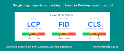 Google page experience ranking for desktop pages