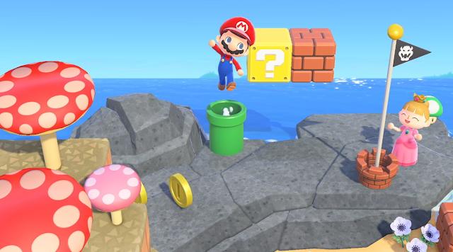 Animal Crossing New Horizons Super Mario 35th Anniversary items mushrooms coin blocks Bowser Flag warp pipes