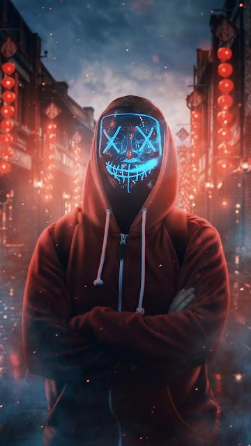 Anonimo Máscara de Neon Azul
