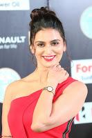 Meenakshi Dixit in Red One Shoulder Red Zipped up gown at IIFA Utsavam Award 25.JPG