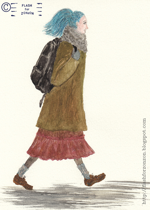 On the Street. Blue-Haired Girl, Lauttasaari, Helsinki.