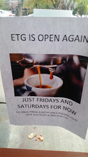 photo of poster saying ETG is open again