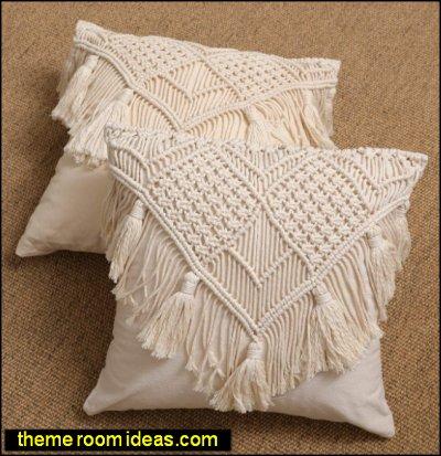 Macrame pillows  hippie bedroom decor macrame bedroom decor 70s bedroom decorating