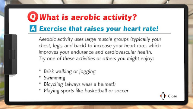 Ring Fit Adventure aerobic activity tip brisk walking jogging swimming bicycling basketball soccer