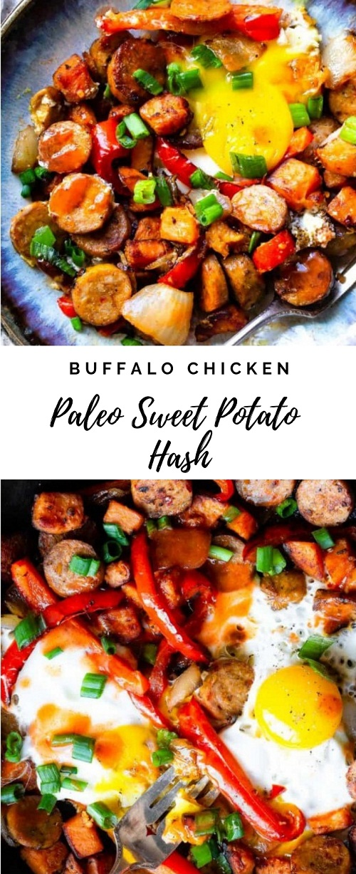 Buffalo Chicken Paleo Sweet Potato Hash