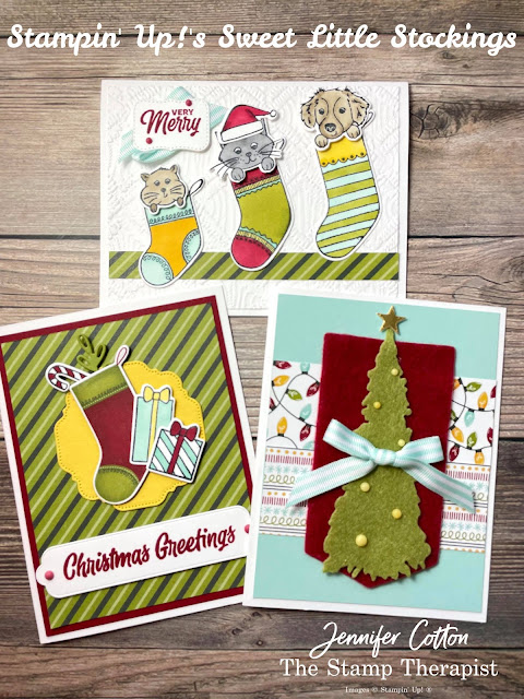 Stampin' Up! Sweet Little Stockings cards: Jolly Felt, Matte Decorative Dots, Pool Party Striped Grosgrain Ribbon, and Sweet Stockings 12x12 DSP (Designer Series Paper).  I also used: Hippo & Friends Dies, Christmas Trees Dies, Seasonal Lables Dies, Gold Foil, Potted Succulents Dies, and the Macrame Embossing Folder.  Coloring is Stampin' Blends! #StampinUp #StampTherapist #SweetLittleStockings