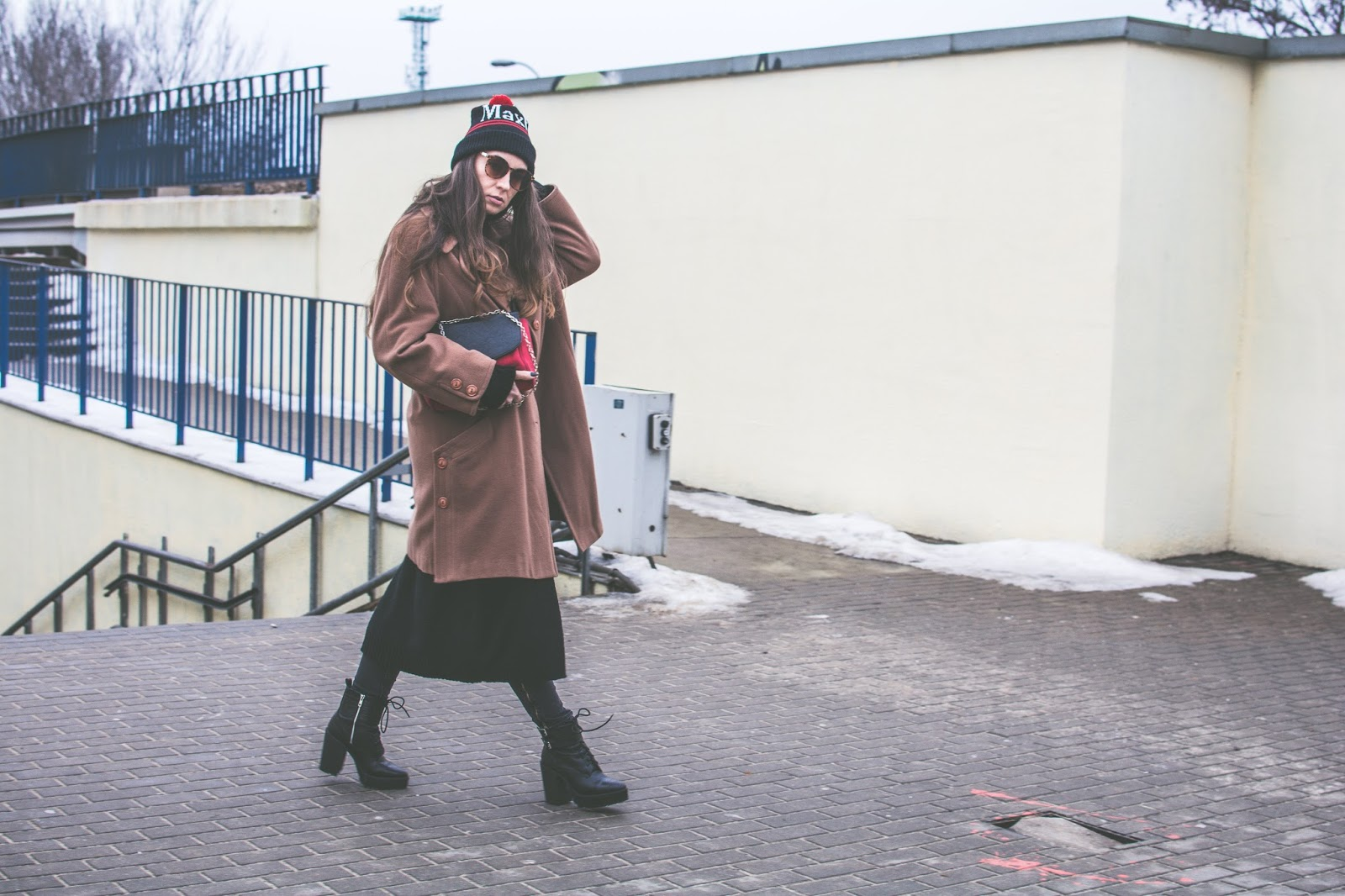 casual outfit with camel coat