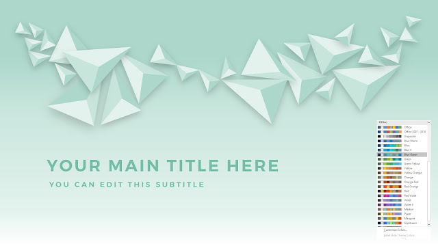 Free PowerPoint Abstract Polygons Title Template with Office Blue Green Color Scheme