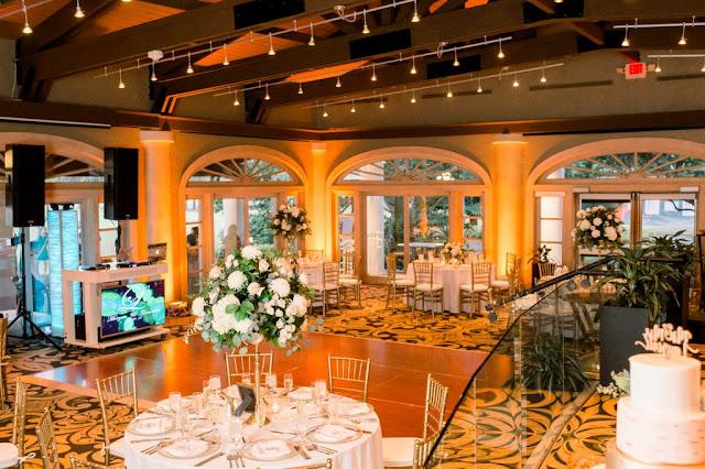 wedding reception decor at Villas at Grand Cypress