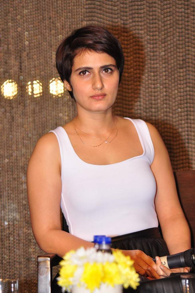 Actress Fatima Sana In White Top At Movie Press Meet
