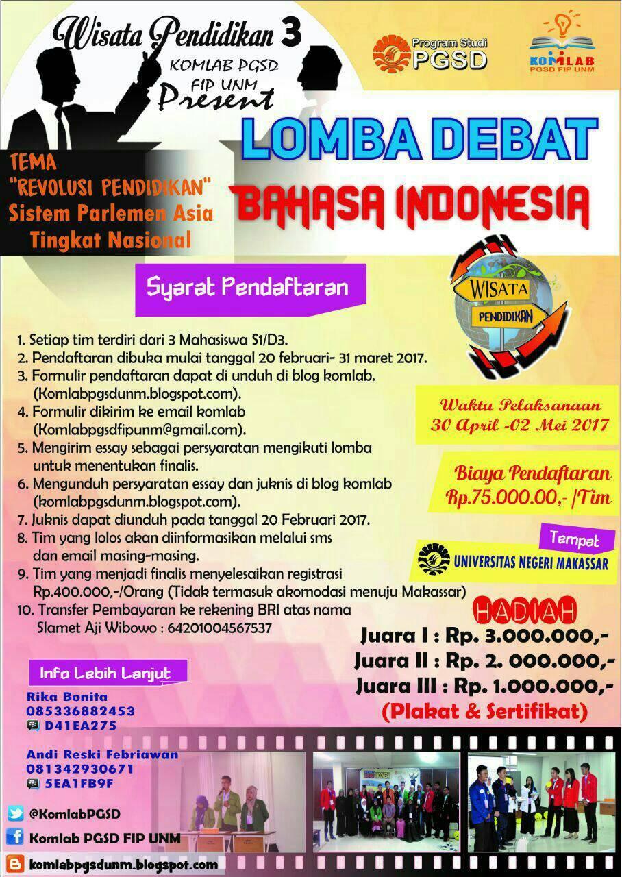Lomba Debat Bahasa Indonesia Nasional 2017 dari Komlab PGSD UNM