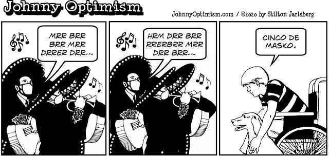 johnny optimism, medical, humor, sick, jokes, boy, wheelchair, doctors, hospital, stilton jarlsberg, cinco de mayo, coronavirus, cinco de masko, mariachi