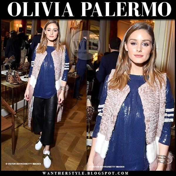 7995f14a8561e Olivia Palermo in pink sleeveless fur coat and white bow embellished  sneakers at Alexandre Birman cocktail in Paris