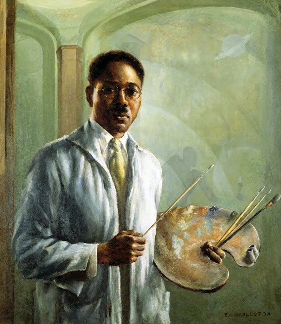 Aaron Douglas, Self Portrait, Portraits of Painters, Fine arts, Portraits of painters blog, Paintings of Aaron Douglas, Painter Aaron Douglas