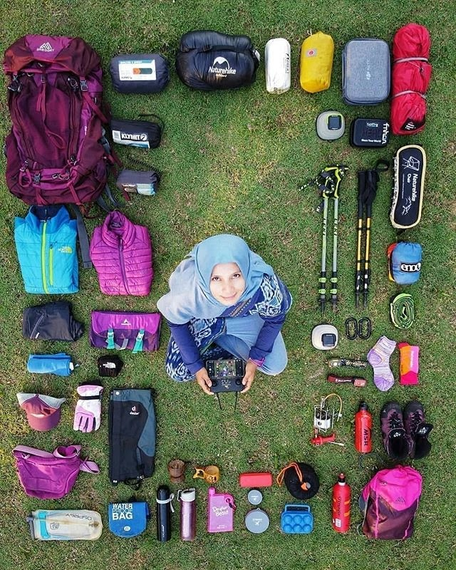 Kemampuan Tekis perlengkapan pendaki gunung - Foto IG @aracelly88