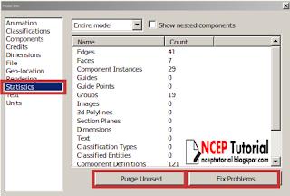 Cara membersihkan model (purge) di sketchup