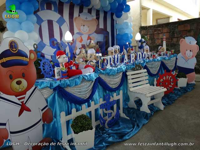 Decoração de aniversário infantil masculino - Mesa tradicional luxo de tecido - pano - Ursinho Marinheiro