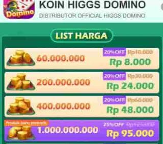 Top Up Chip Higgs Domino Paling Murah