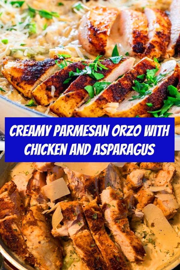 Quick and delicious Creamy Parmesan Orzo with Chicken and Asparagus that can be on your dinner table in only 30 minutes! Cheesy, creamy, delicious goodness! #chickenrecipes #asparagus #easydinner