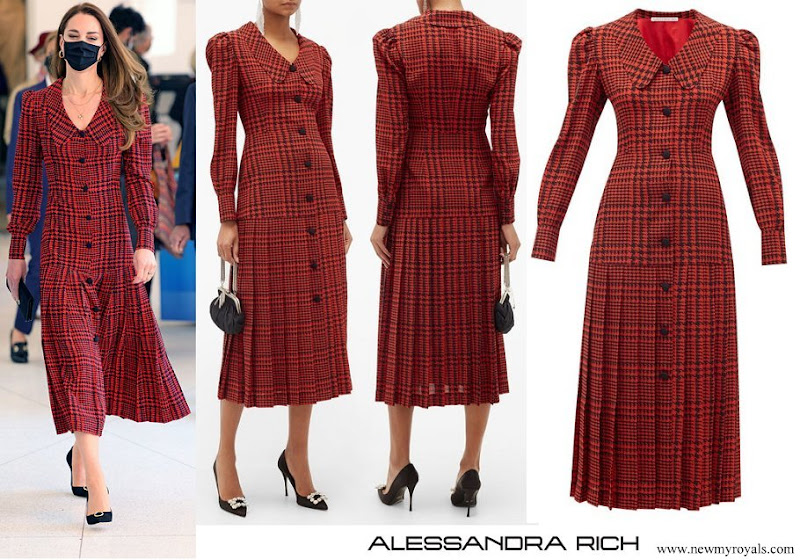 Kate Middleton wore Alessandra Rich Red Pleated Houndstooth Silk Midi Dress
