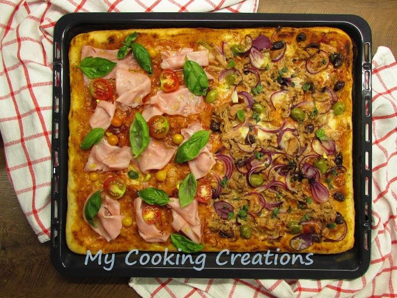 Лесно тесто за пица без месене в тава * Impasto facile per pizza in teglia