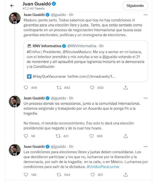 Juan Guaidó decide no apoyar el llamado a votar en las Elecciones Fraudulentas de Noviembre