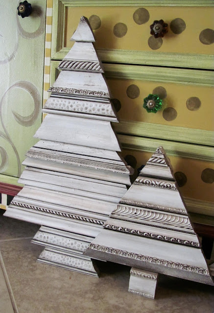 recycled picture frame and decorative molding Christmas trees