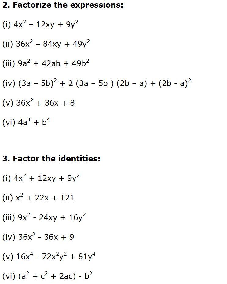 DCMC MATH Class 8: Practice worksheet on factorisation for class 8