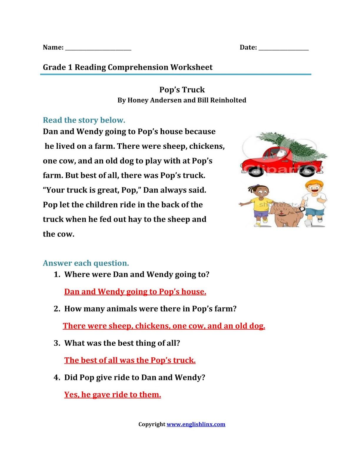 Reading Comprehension Worksheets First Grade
