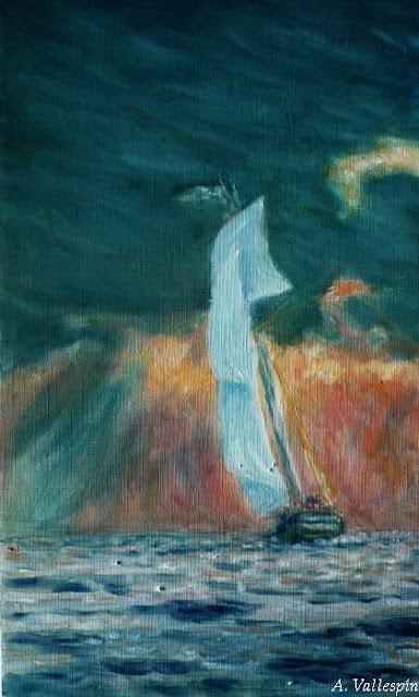 Pintura al óleo de un barco navegando al atardecer