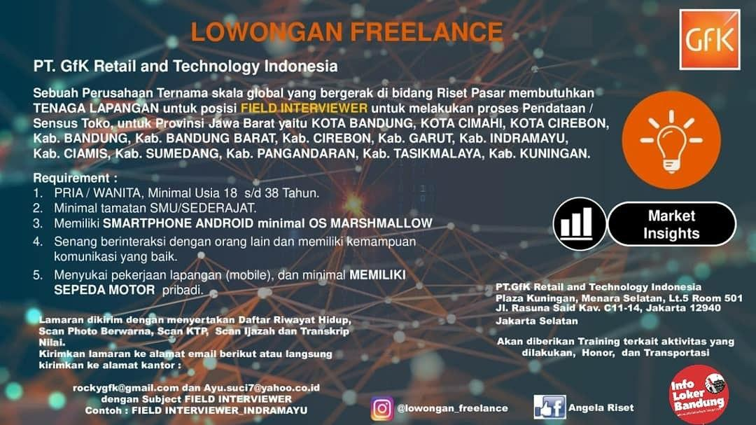 Lowongan Freelance PT. GFK Retail and Technology Indoneisa Februari 2020
