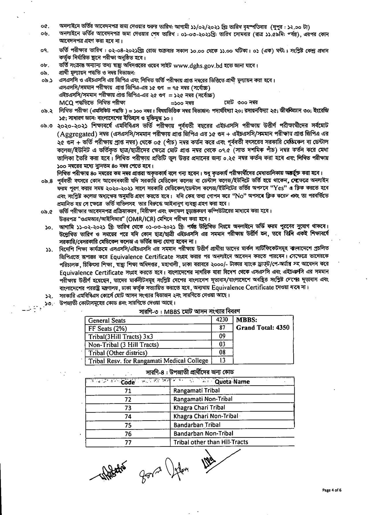 Medical (MBBS) admission circular 2020-21 | মেডিকেল ভর্তি সার্কুলার নীতিমালা ২০২০-২১