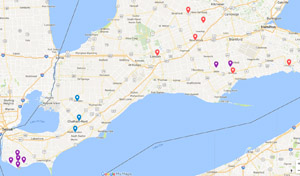 Map of Ontario's Southwest Locations