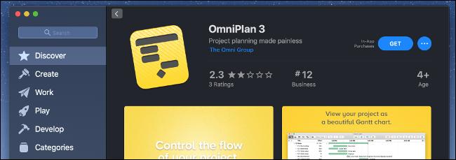 يعرض متجر تطبيقات Mac تطبيق OmniPlan 3.