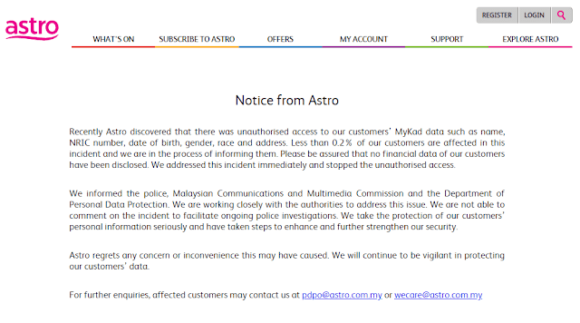 TV Malaysia ASTRO Diretas, Biodata Pengguna Diambil