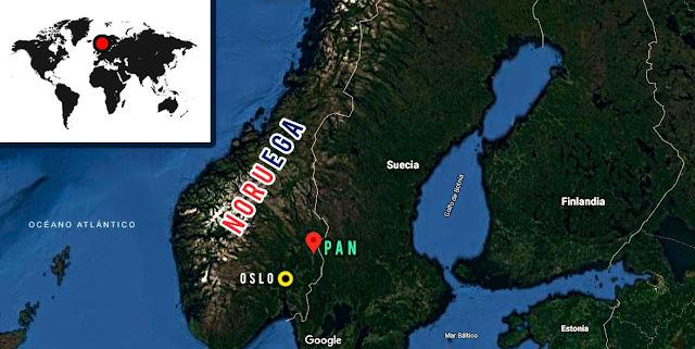 mapa de Noruega ubicando las cabañas PAN al norte de Oslo