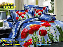 Sprei Custom Katun Jepang Panel Bunga 3D Spring Tulip Biru Merah Dewasa