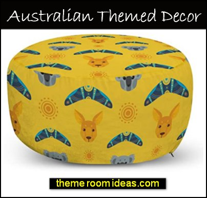 Kangaroo Ottoman Pouf, Australian Aboriginal Pattern Boomerang and Koala Bear Animal, Decorative