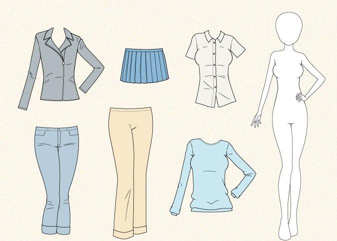 Menggambar contoh pakaian anime