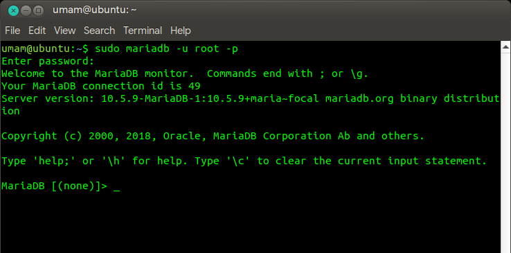 Tampilan konsol MariaDB