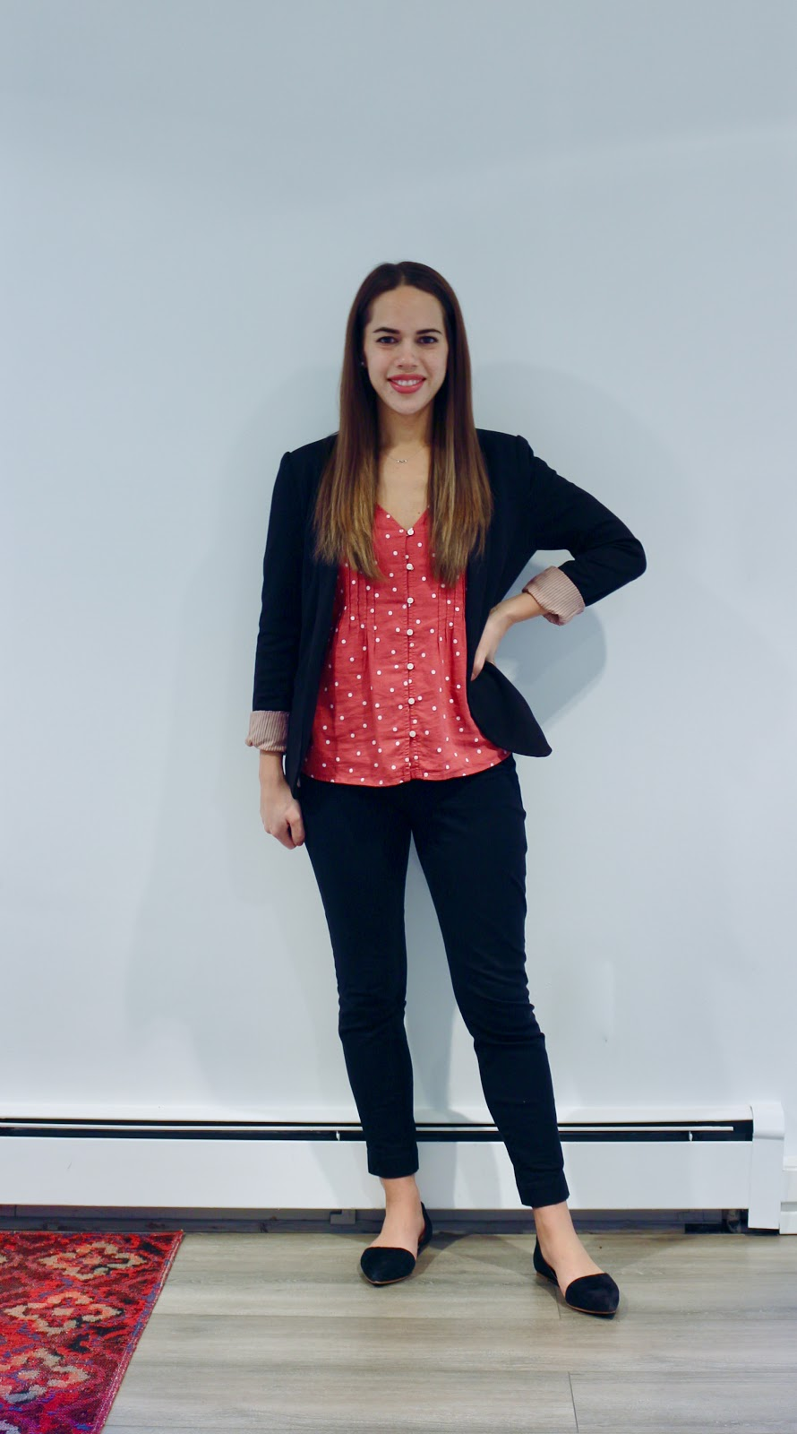 Jules in Flats - Pintucked V-Neck Button Front Top with Blazer (Business Casual Fall Workwear on a Budget)