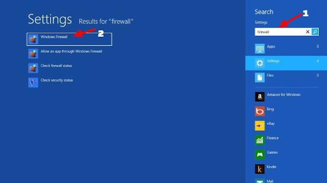 cara mengaktifkan firewall windows 8