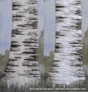 Projgress photos of embroidering a birch trunk
