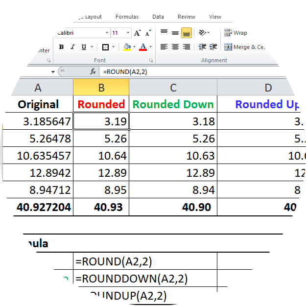 Rouding Numbers in Excel