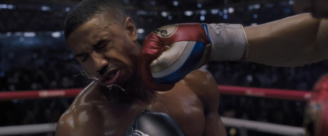 Michael B Jordan as Adonis Creed gets knocked out in Creed II